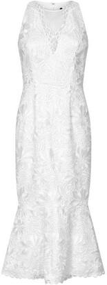 Adrianna Papell Guipure Midi Flounce Dress