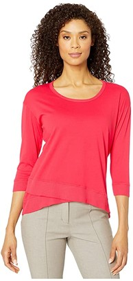 Mod-o-doc Supreme Jersey 3/4 Sleeve Tee with Crossover Rib Hem (Cherry Red) Women's Clothing