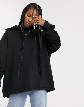 Weekday Blaze oversized hoodie with drawstring in black