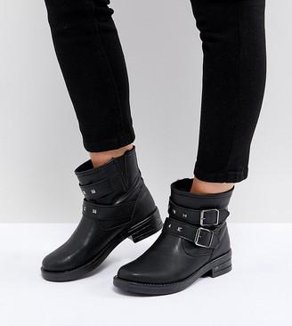 Asos Design ACCENT Wide Fit Studded Biker Ankle Boots-Black