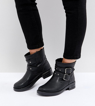 Asos Design ASOS ACCENT Wide Fit Studded Biker Ankle Boots