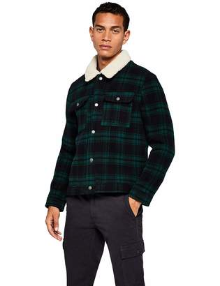Find. find. Men's Jacket in Trucker Style with Check and Shearling Long Sleeves and Wing Collar