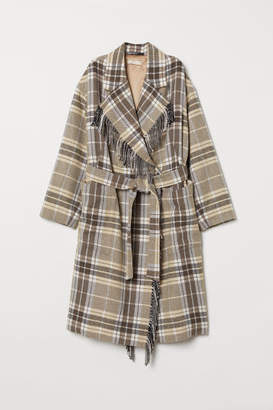 H&M Coat with Tie Belt - White
