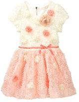 Baby Sara Flower Detail Textured Party Dress (Toddler & Little Girls)