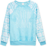 Hybrid Gold Crush Faux-Fur Snowflake-Sleeve Graphic Top, Big Girls (7-16)