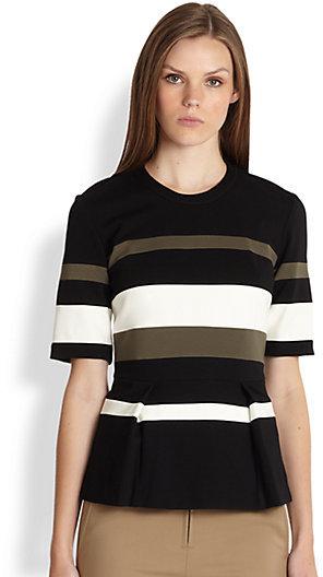 3.1 Phillip Lim Short-Sleeve Striped Peplum Top