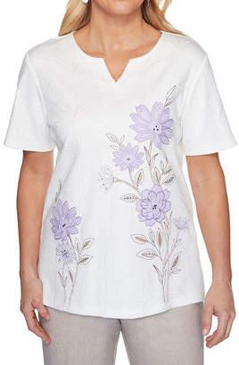 Alfred Dunner Nantucket-Womens Split Crew Neck S/S Sleeve T-Shirt