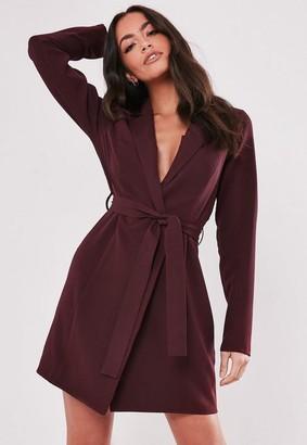 Missguided Burgundy Basic Wrap Blazer Dress