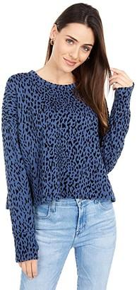 bobi Los Angeles Flocked Terry Drop Sleeve Slit Back Top (Leopard) Women's Clothing