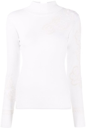 Ermanno Scervino Fine Knit Top With Broderie Anglaise Detail
