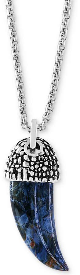 "Effy Men's Pietersite Horn 22"" Pendant Necklace (25-1/2mm x 12mm) in Sterling Silver"