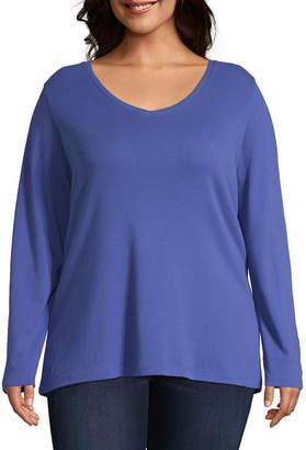 ST. JOHN'S BAY Plus-Womens V Neck Long Sleeve T-Shirt