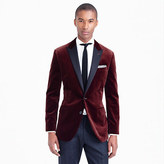 Ludlow contrast peak lapel sportcoat in cabernet velvet