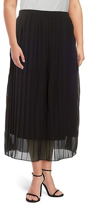 Lea & Viola Curve Plus Pleated Midi Skirt