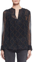 Etoile Isabel Marant Bowtie Long-Sleeve Patterned Silk Tunic, Black