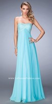 La Femme Empire Crystal Embellished Chiffon Prom Gown