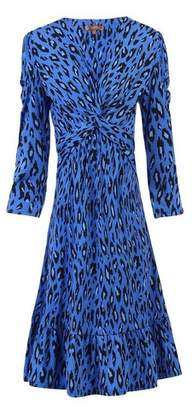 Dorothy Perkins Womens *Jolie Moi Blue Leopard Print Fit And Flare Dress, Blue