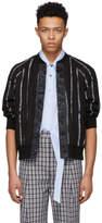 3.1 Phillip Lim Black Painted Stripe Bomber Jacket