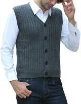 Aecibzo Mens Casual Slim Fit Basic Knitted Vest With Twisted Patterned