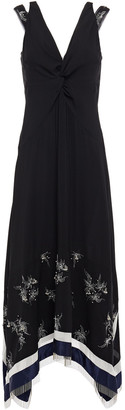 3.1 Phillip Lim Embellished Twisted Silk-crepe Midi Dress