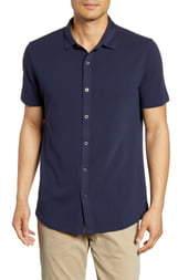 Robert Barakett Percival Short Sleeve Knit Button-Up Shirt