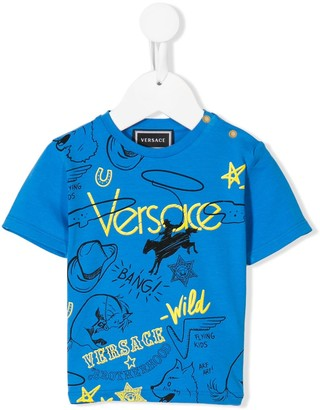 Versace cowboy logo print T-shirt
