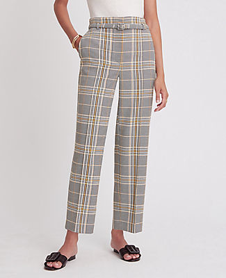 Ann Taylor The Petite Plaid Belted Straight Pant