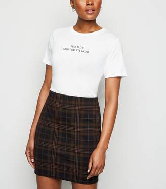 New Look Check Jersey Tube Skirt