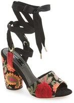 Topshop Women's 'Royal' Embroidered Lace-Up Sandal
