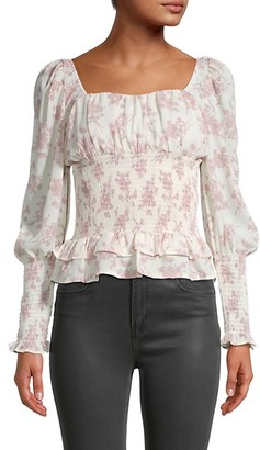 Cistar New York Floral Smocked Puff-Sleeve Top