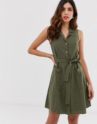 Vero Moda collared button through sleeveless mini dress-Green