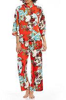 N by Natori Blossoming Fans Satin Pajamas