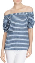 Lauren Ralph Lauren Stripe Off-The-Shoulder Top