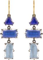 Larkspur & Hawk Caterina Baguette Three Drop White Quartz Blue Earrings
