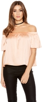 Quiz Blush Pink Satin Bardot Top