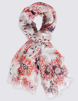 M&S Collection Nautical Tile Floral Print Scarf