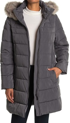 DKNY Faux Fur Hooded Puffer Jacket