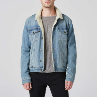 DSTLD Sherpa Denim Jacket in Vintage Blue