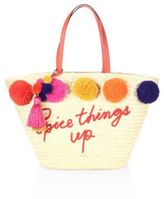 Kate Spade Lewis Way Large Pom Marketa Straw Tote