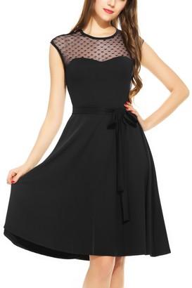 Zeagoo Women's Elegant Sleeveless Mesh Patchwork Cocktail Swing Dress Black L