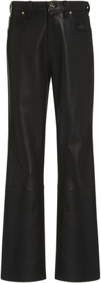 Gold Sign Leather High-Rise Bootcut Pants