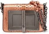Tom Ford Natalia Small Metallic Python Shoulder Bag - Bronze