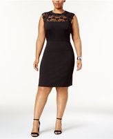 Love Squared Trendy Plus Size Lace-Yoke Bodycon Dress
