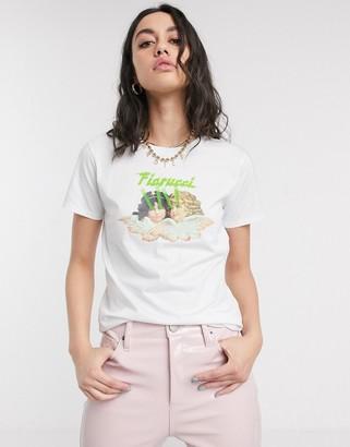 Fiorucci angels laser print t-shirt in white