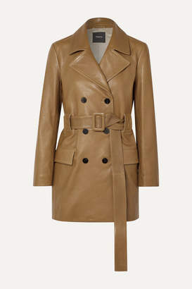 Theory Belted Double-breasted Leather Coat - Tan