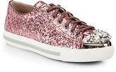Miu Miu Glitter Jeweled Lace-Up Sneakers