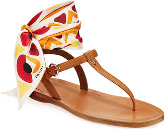 Prada Flat Saffiano Leather Thong Sandals With Scarf Tie