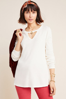 Nadia Cut-Out Waffle Tunic By T.La in White Size M