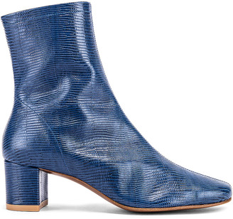 BY FAR Sofia Lizard Embossed Leather Boots in Deep Blue | FWRD