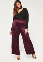 Missguided Plus Size Exclusive Purple Satin Wide Leg Trouser